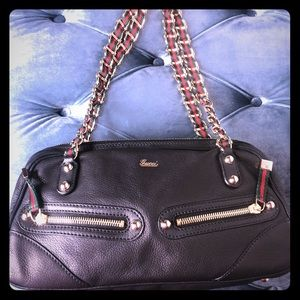 Gucci Leather Red and Green Ribbon Chain bag